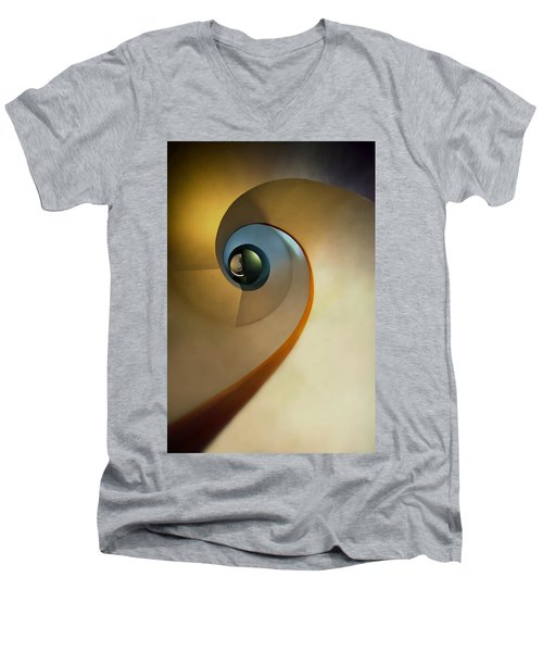 Golden And Brown Spiral Staircase Men's V-Neck T-Shirt