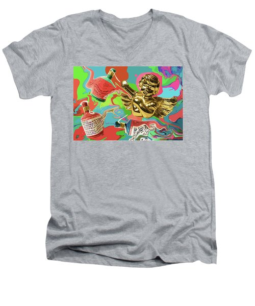 Golden Angel With Party Poppers Men's V-Neck T-Shirt
