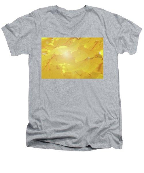 Golden Autumn Leaves Men's V-Neck T-Shirt