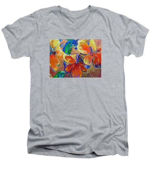 Golden Boiled Flowers Men's V-Neck T-Shirt