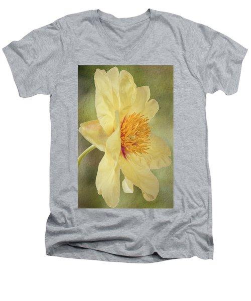 Golden Bowl Tree Peony Bloom - Profile Men's V-Neck T-Shirt by Patti Deters