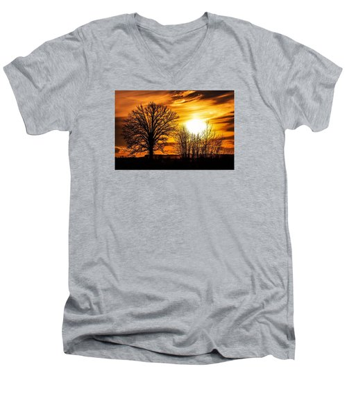 Golden Brushstrokes Men's V-Neck T-Shirt