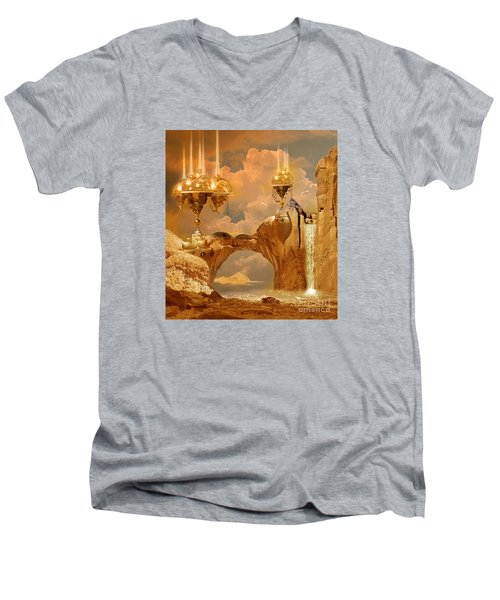 Men's V-Neck T-Shirt featuring the digital art Golden City by Alexa Szlavics