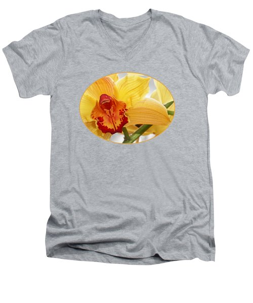 Golden Cymbidium Orchid Men's V-Neck T-Shirt