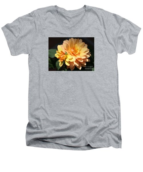 Golden Dahlia With Bud Men's V-Neck T-Shirt