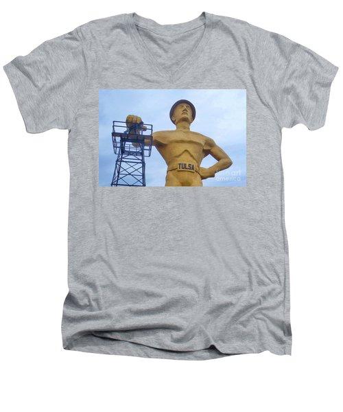 Golden Driller 76 Feet Tall Men's V-Neck T-Shirt by Janette Boyd