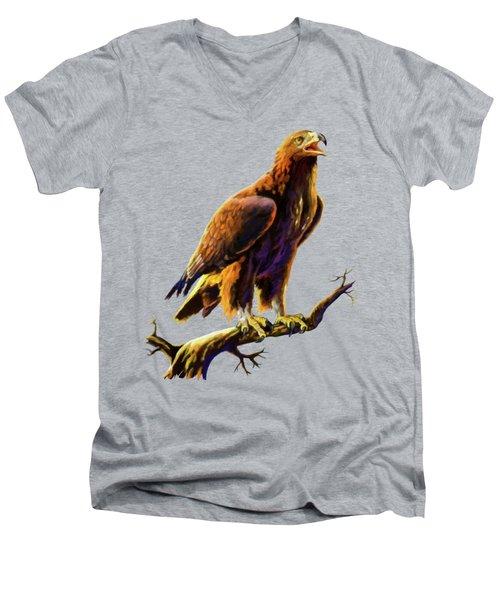 Golden Eagle Men's V-Neck T-Shirt by Anthony Mwangi