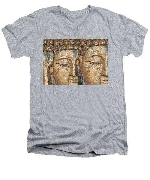 Golden Faces Of Buddha Men's V-Neck T-Shirt by Linda Prewer