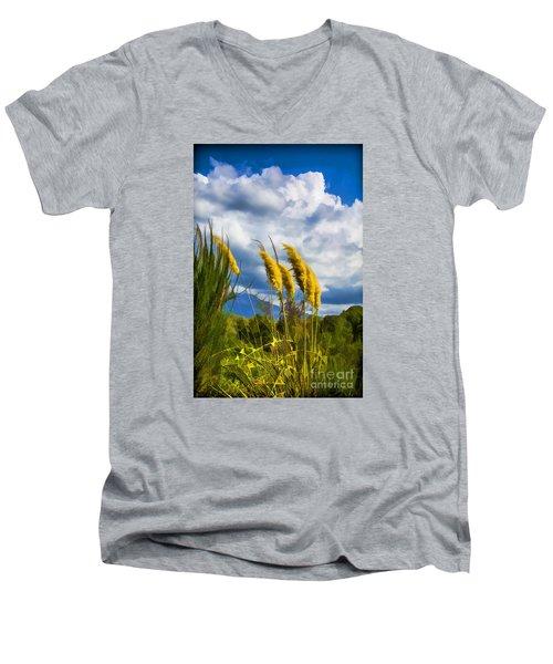 Golden Fluff Men's V-Neck T-Shirt by Rick Bragan