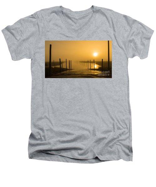 Golden Fog On The Nissequogue Men's V-Neck T-Shirt