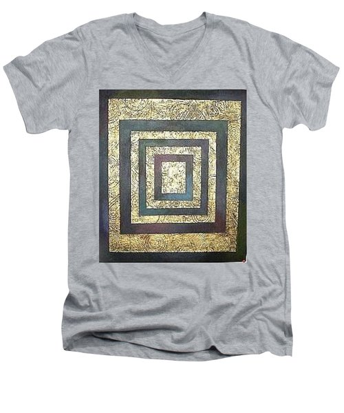 Men's V-Neck T-Shirt featuring the painting Golden Fortress by Bernard Goodman