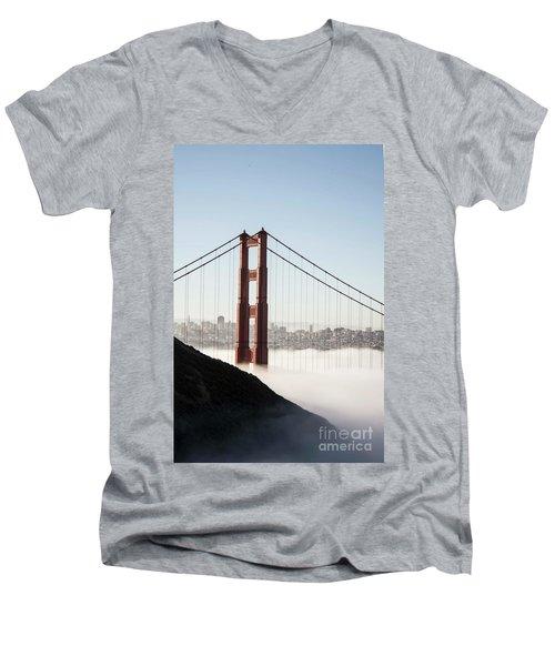 Men's V-Neck T-Shirt featuring the photograph Golden Gate And Marin Highlands by David Bearden