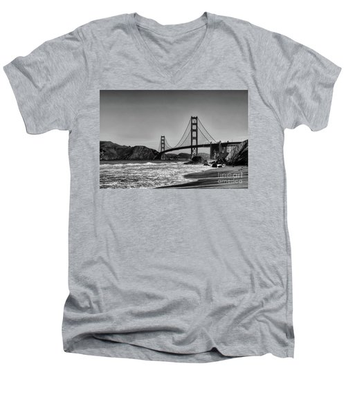 Golden Gate Bridge Black And White Men's V-Neck T-Shirt