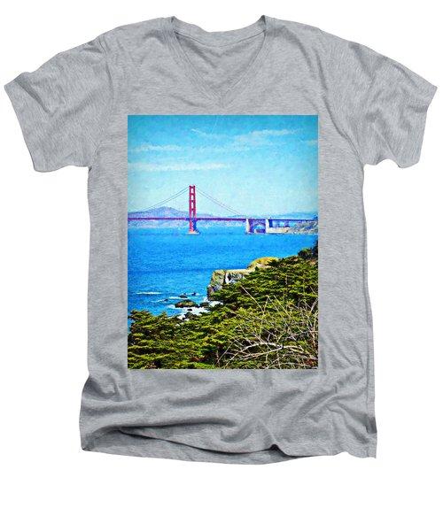 Golden Gate Bridge From The Coastal Trail Men's V-Neck T-Shirt