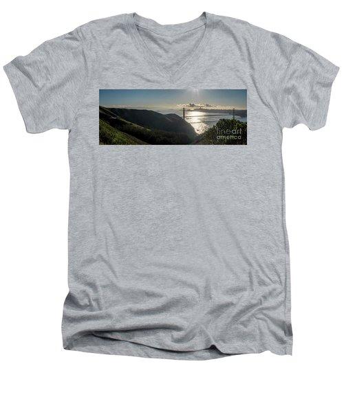 Golden Gate Bridge From The Road Up The Mountain Men's V-Neck T-Shirt