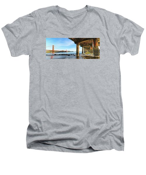 Men's V-Neck T-Shirt featuring the photograph Golden Gate Bridge From Under Fort Point Pier by Steve Siri