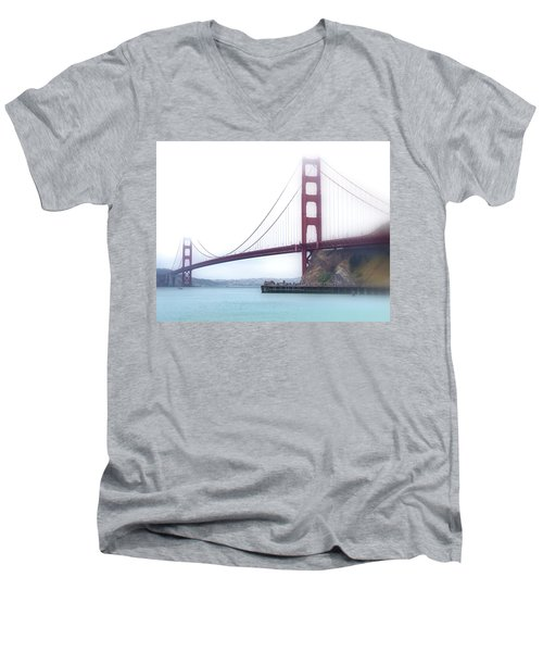 Golden Gate Bridge Men's V-Neck T-Shirt by Laura DAddona