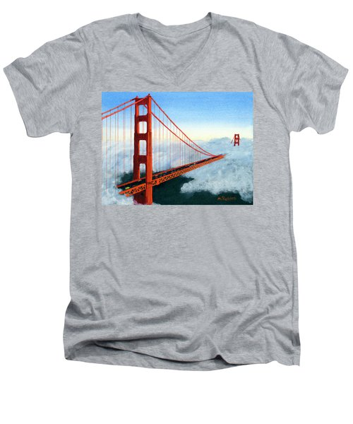 Golden Gate Bridge Sunset Men's V-Neck T-Shirt by Mike Robles
