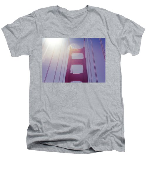 Men's V-Neck T-Shirt featuring the photograph Golden Gate Bridge The Iconic Landmark Of San Francisco by Jingjits Photography