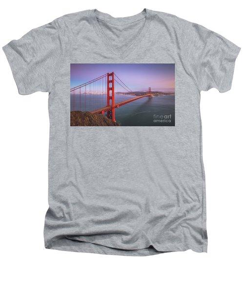 Golden Gate Bridge Twilight Men's V-Neck T-Shirt by JR Photography