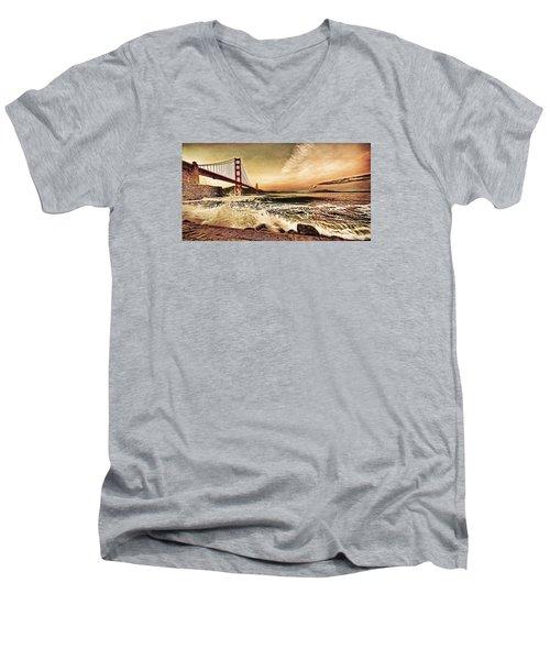 Men's V-Neck T-Shirt featuring the photograph Golden Gate Bridge Waves by Steve Siri