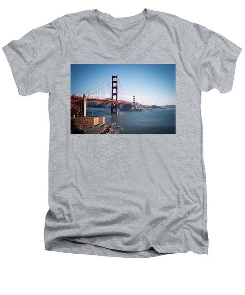 Golden Gate Bridge With Aircraft Carrier Men's V-Neck T-Shirt