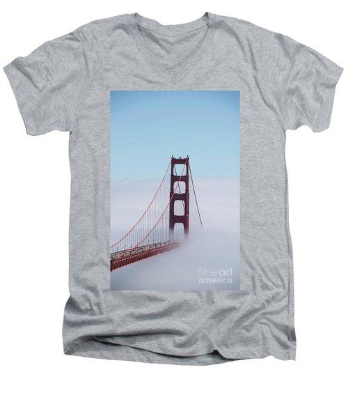 Men's V-Neck T-Shirt featuring the photograph Golden Gate Fogged - 3 by David Bearden