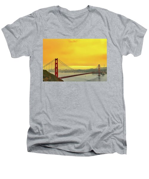 Men's V-Neck T-Shirt featuring the painting Golden Gate by Harry Warrick
