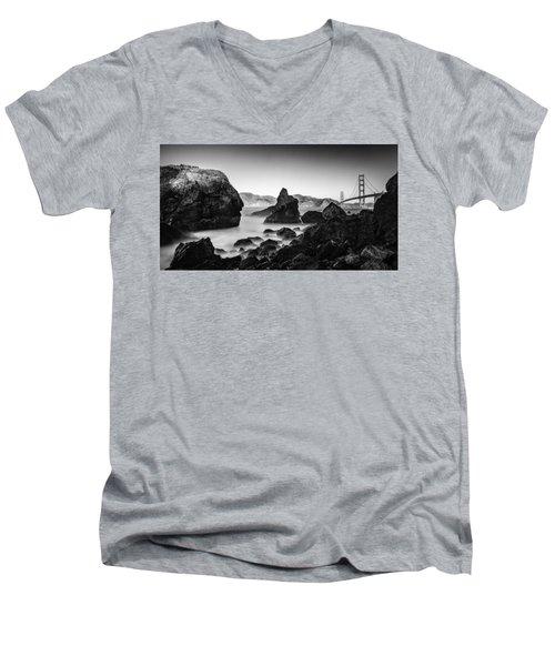 Golden Gate In Black And White Men's V-Neck T-Shirt