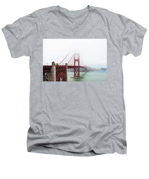 Golden Gate In The Fog Men's V-Neck T-Shirt
