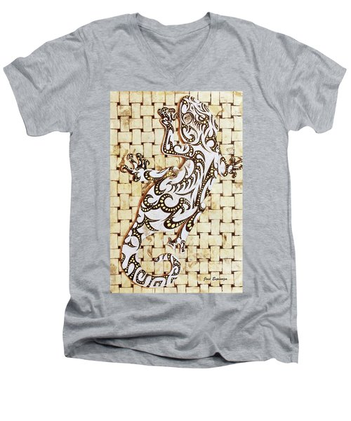 Men's V-Neck T-Shirt featuring the painting Golden Gecko by J- J- Espinoza