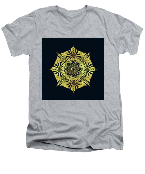 Men's V-Neck T-Shirt featuring the drawing Golden Geometry by Deborah Smith