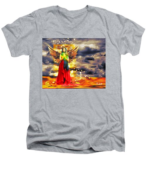 Golden Goddess Of Gratitude Men's V-Neck T-Shirt