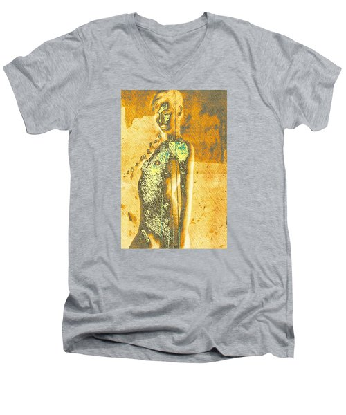 Golden Graffiti Men's V-Neck T-Shirt by Andrea Barbieri