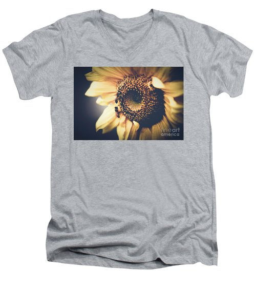 Men's V-Neck T-Shirt featuring the photograph Golden Honey Bees And Sunflower by Sharon Mau