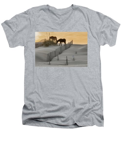 Golden Horses Men's V-Neck T-Shirt