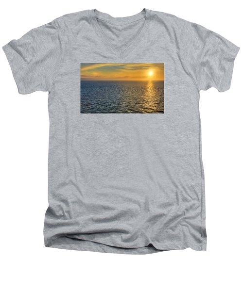 Men's V-Neck T-Shirt featuring the photograph Golden Hour At Sea by Lewis Mann
