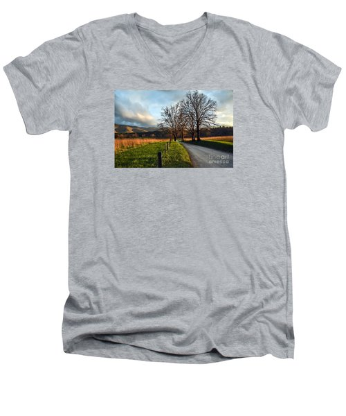 Golden Hour In The Cove Men's V-Neck T-Shirt by Debbie Green