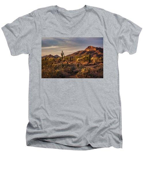 Men's V-Neck T-Shirt featuring the photograph Golden Hour On The Usery  by Saija Lehtonen