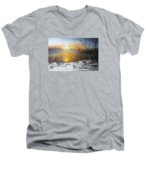 Golden Lake Sunrise  Men's V-Neck T-Shirt by Vesna Martinjak