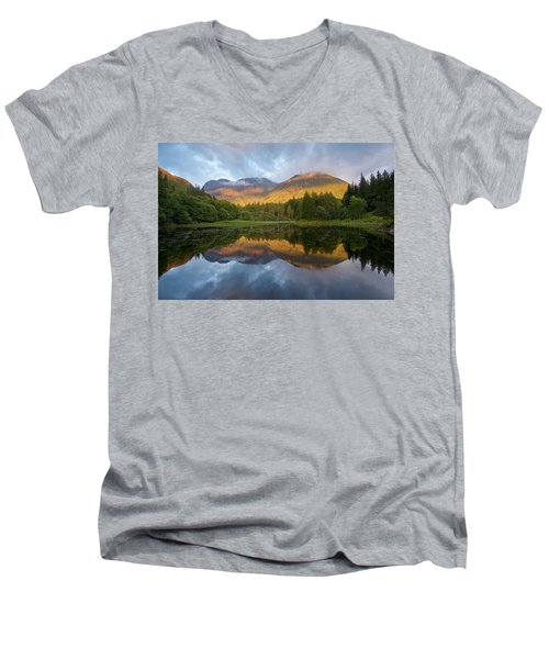 Golden Light At The Torren Lochan Men's V-Neck T-Shirt