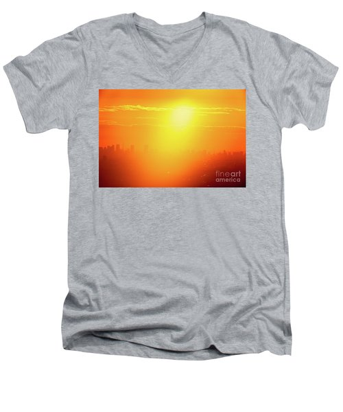 Golden Light Men's V-Neck T-Shirt by Tatsuya Atarashi