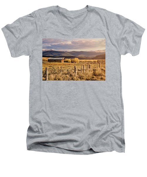 Golden Lonesome Men's V-Neck T-Shirt by Lana Trussell