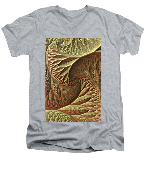 Men's V-Neck T-Shirt featuring the digital art Golden by Lyle Hatch