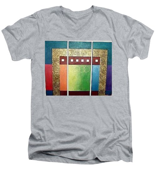 Men's V-Neck T-Shirt featuring the painting Golden Mesa by Bernard Goodman