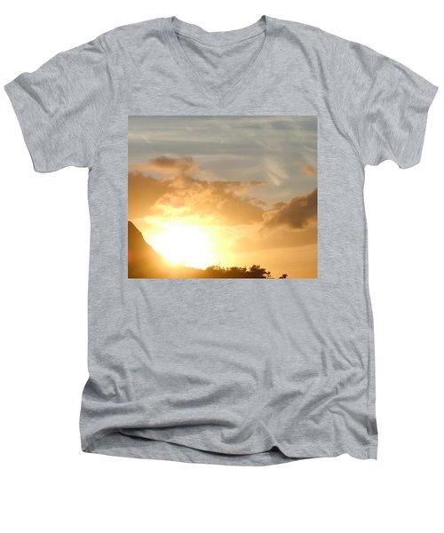 Golden Oahu Sunset Men's V-Neck T-Shirt by Karen J Shine