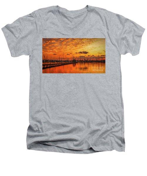 Golden Orange Sunrise Men's V-Neck T-Shirt by Tom Claud