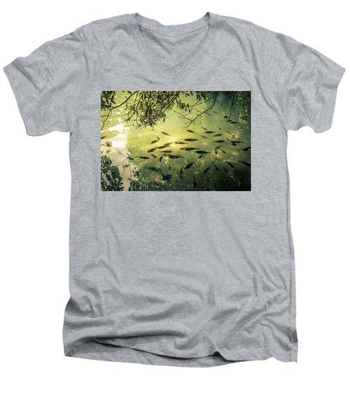 Golden Pond With Fish Men's V-Neck T-Shirt by Menachem Ganon