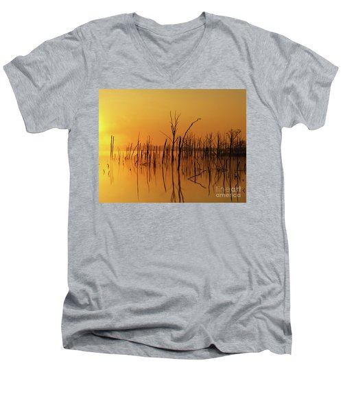 Golden Reflections Men's V-Neck T-Shirt by Roger Becker