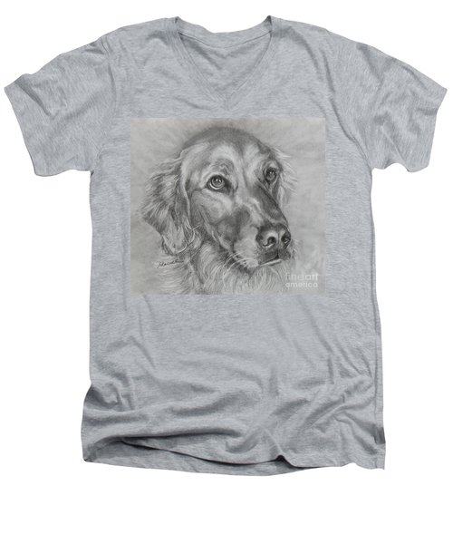Golden Retriever Drawing Men's V-Neck T-Shirt